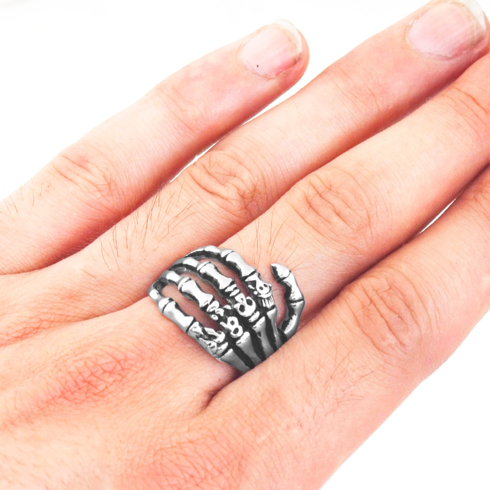 EdgLifU Pria Cincin hitam Vintage Punk Skeleton Rings Stainless steel - Perhiasan fashion - Foto 6