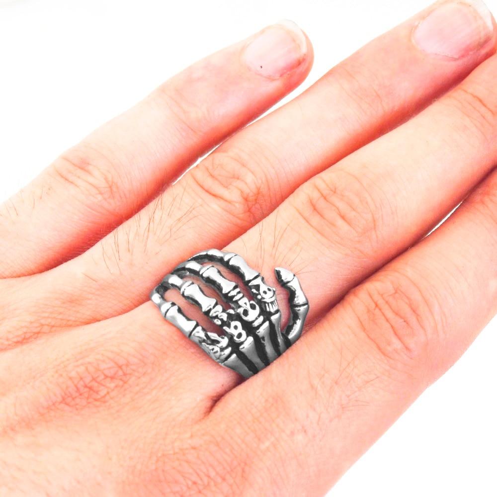 Edglifu Men Ring Black Vintage Punk Skeleton Rings Stainless Steel Skull Hand Finger Bone For Women Gift In From Jewelry