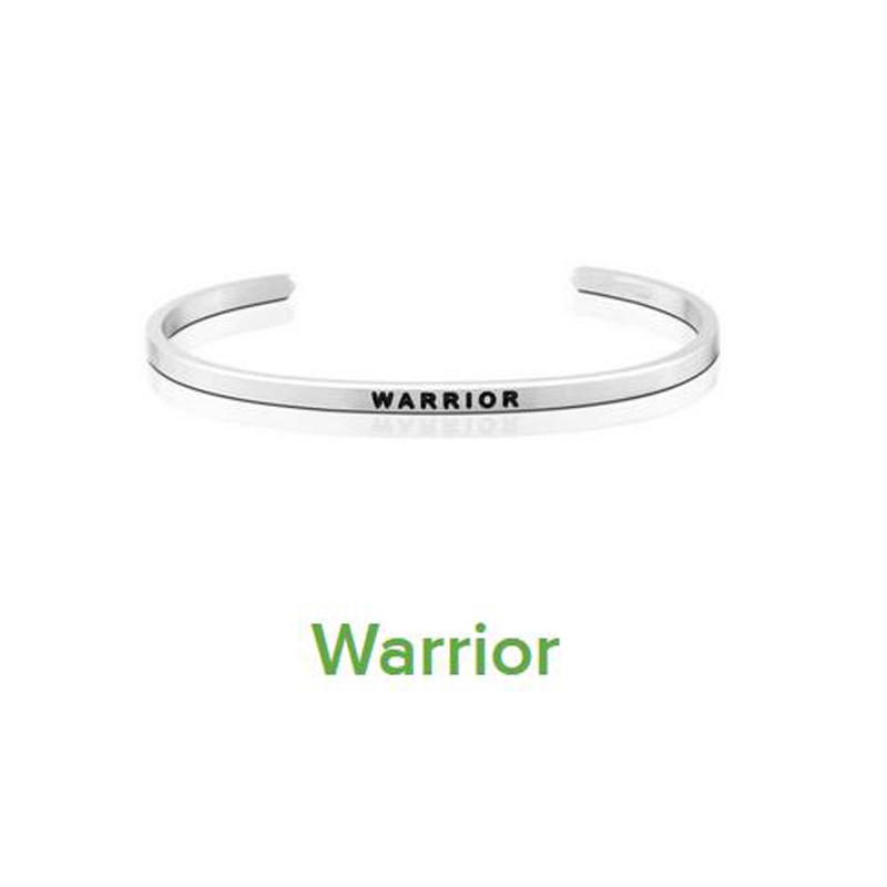 2018 Stainless Steel Open Cuff Bracelet new Warrior Bangle Engraved Words Jewelry