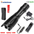 Hot Sale 4000LM Aluminum E17 CREE XM-L T6 LED Torches Zoomable LED Flashlight Accessories Torch Lamp For 3XAAA or 18650 Battery