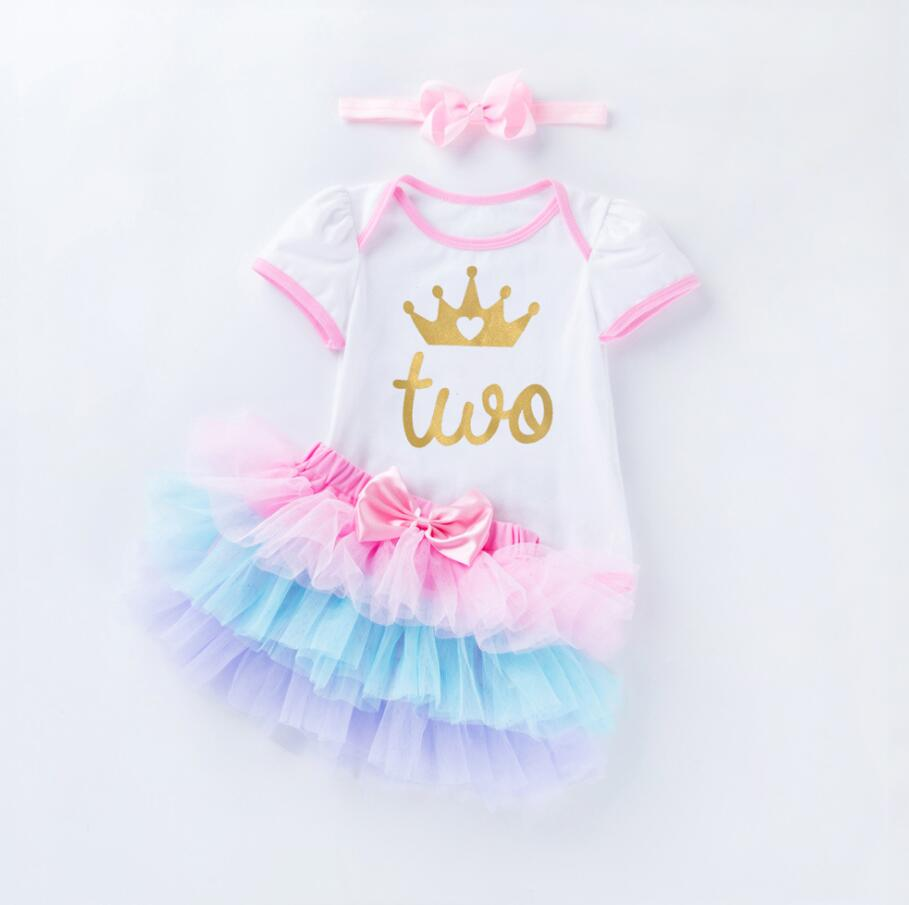 3Pcs Outfit Set Baby Girls One Year Old Birthday Lace Tutu Bodysuit Skirt with Headband