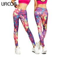 Newly Women Yoga Fitness Sports Pants Elastic Printing Impressionist Tights For Female Slim Running Full Leggings