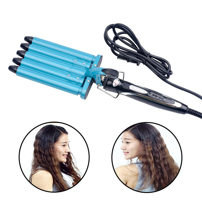 5 Barrels Nano Titanium Ceramic Hair Curler Curling Irons Roller Five Pipe Joint Big Hair Wave Waver Hairstyle Tools King hot 15 25mm ceramic bead hair curler roller 110 240v 60w hair curling irons professional ptc heating curl hair style tool with glove