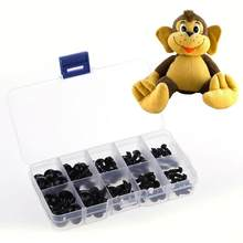 VKTECH 100pcs/box Animal Plush Toys Eyes+Black Screw Feet DIY Dolls Crafts Accessories 6/8/9/10/12mm Stuff Doll Toys Eyes(China)