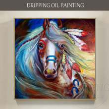 Artist Handmade High Quality Battle Steed Oil Painting on Canvas Colorful Horse Pictures Decor Indian War Horse Oil Painting