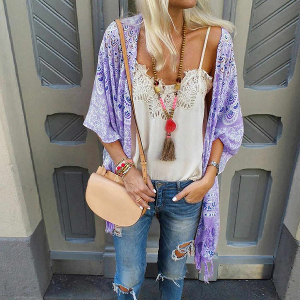 Bluzki femme ete 2019 Boho w stylu Vintage, kobiety, kwiatowy, luźny szal kardigan kimono szyfonowa kurtka bluzka plaża lato sweter