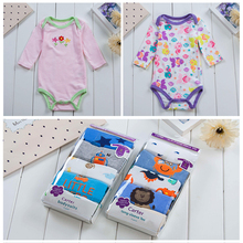 5 Baby Pieces Bodysuits Long Sleeved Boys Girls Clothing Triangle Newborn Cotton 3-24M Babys Sets