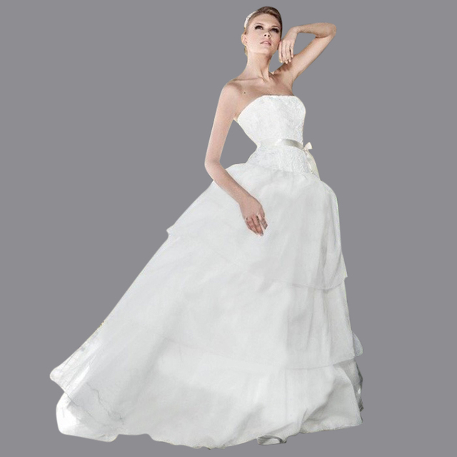Free Shipping Modern Europe Style Puffy Strapless Sweep Train Wedding Gown Ball Dresses With Top Lace