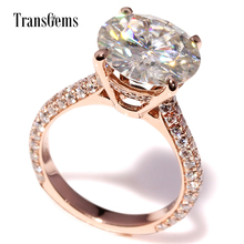 TransGems 5.0 Carat Lab Grown Moissanite Wedding Engagement Ring with Real Diamond Accents in 14K Rose Gold for Women