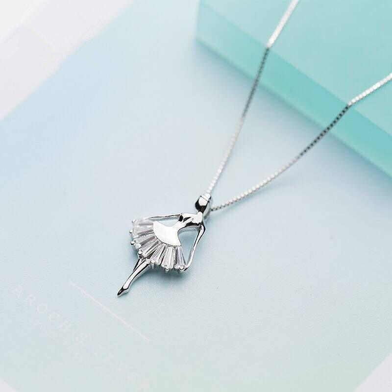 CBO23 S925 argent collier pendentif femme douce ballet danseuse princesse fille clavicule chaîne