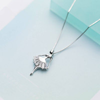 CBO23 S925 silver necklace pendant female sweet ballet dancer princess girl clavicle chain