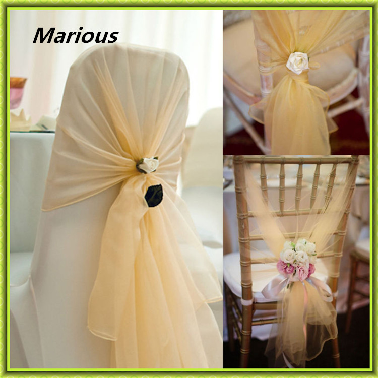 Factory price 100pcs Navy Blue gold pink Organza Hood Sashes for Chair Organza Chair Hood Wrap for Wedding FREE SHIPPING
