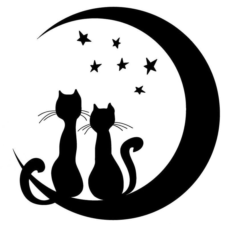 Стильная Виниловая наклейка для автомобиля, 15,7 см * 16,1 см, луна, звезды, кот, черный/серебристый цвет