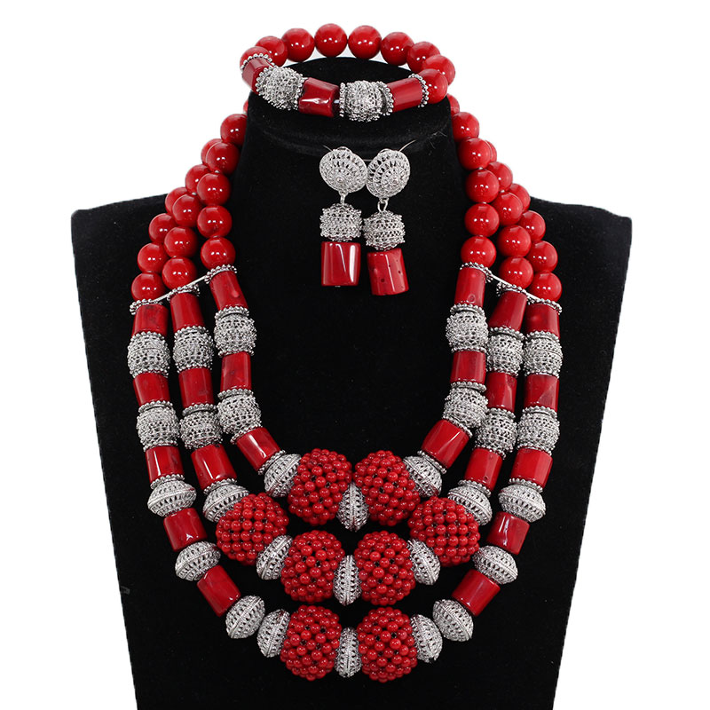 2018 Trendy NEW African Red Coral Jewelry Sets for Women Red/Silver Indian Bridal Coral Beads Necklace Set for Wedding ABH7772018 Trendy NEW African Red Coral Jewelry Sets for Women Red/Silver Indian Bridal Coral Beads Necklace Set for Wedding ABH777