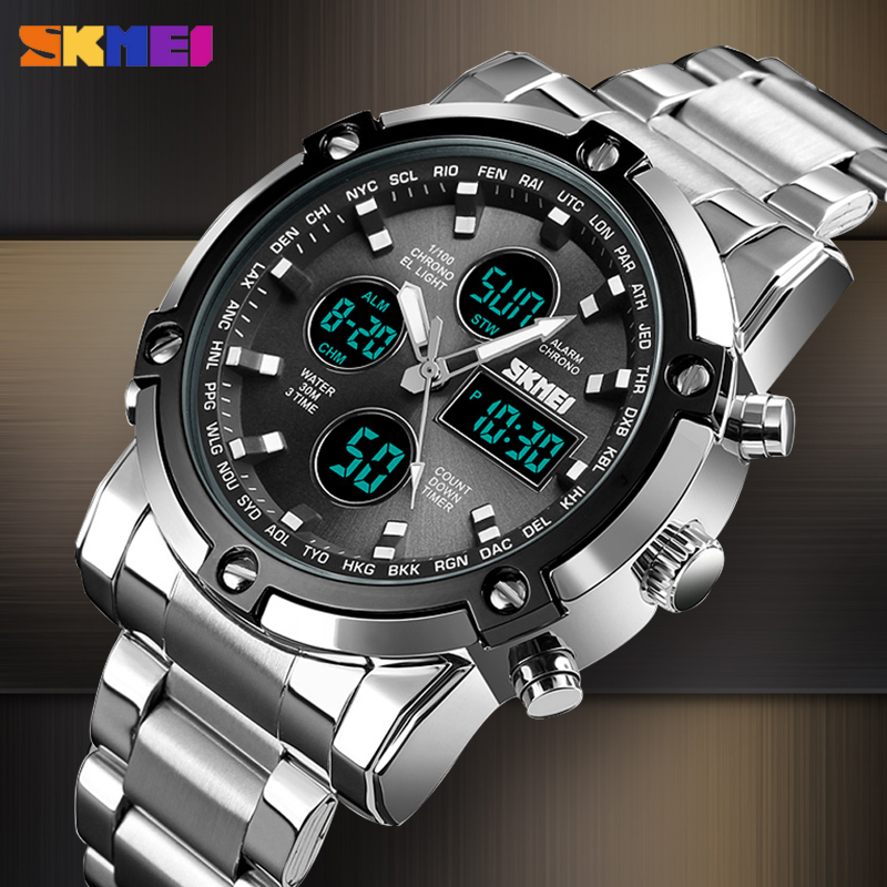 <font><b>SKMEI</b></font> New Luxury Sport Digital Men's Watch Casual Countdown Stainless Steel Quartz Clock Waterproof Male Wristwatch Reloj Hombre image