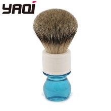 Yaqi 24 ミリメートルアクア Highmountain Silvertip アナグマの毛シェービングブラシ