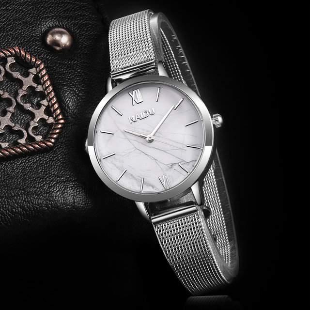 Fashion Silver Mesh Band Creative Marble Wrist Watch Women Bracelet Watches Wome