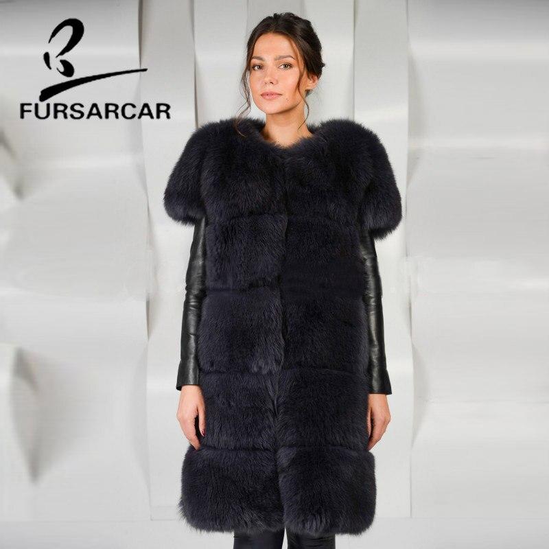 O Gilet Luxe Fursarcar Long cou Fox Naturelle Hiver Peau Cm Femelle 90 Réel Fourrure Femmes De Tout xq7IwS7T