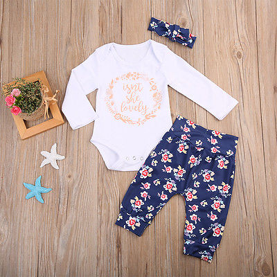 c0b0a3beead97 US $6.86 7% OFF|Newborn Baby Girls Lovely outfits Cotton Rompers+ Floral  Pants Leggings Match headband 3Pcs baby Girl clothing Set-in Clothing Sets  ...