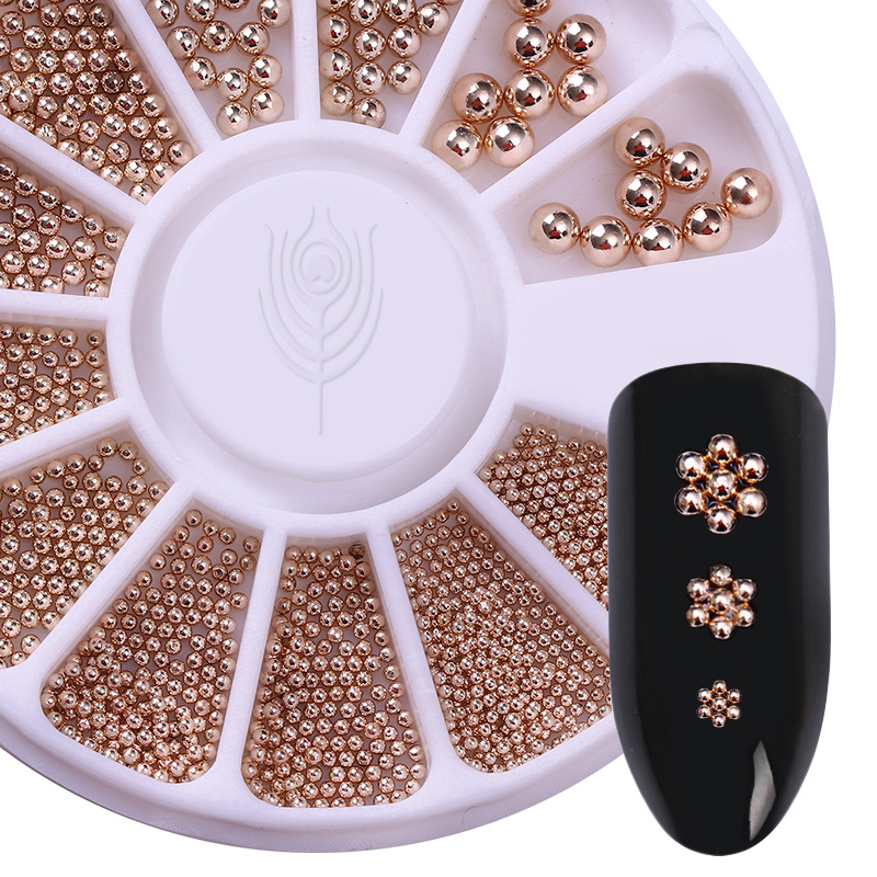 Rose Gold Silver Black Nail Beads Caviar Studs Multi-size DIY 3D Nail Art UV Gel Lacquer Decoration in Wheel Manicure Accessorie elessical gold nail rivets copper nail studs mixed 3d nail art decoration diy manicure jewelry silver nails accessories in wheel