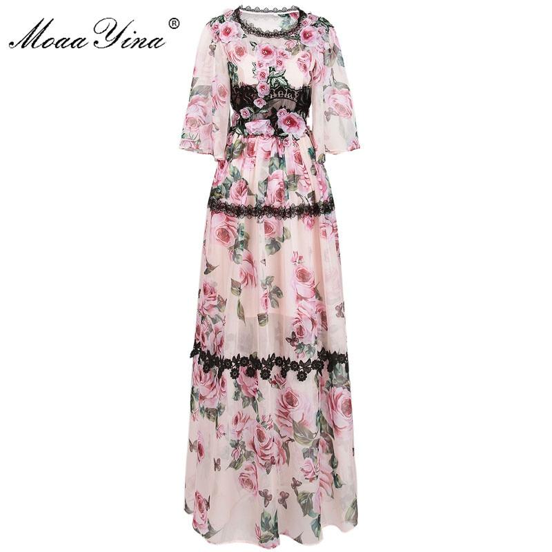 MoaaYina Fashion Designer Runway Dress Summer Women Flare sleeve Lace Applique Rose Print Holiday Romantic Bohemia Beach Dress