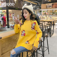 RUGOD Winter Pullover Sweater women Fashion Cartoon printed Long sleeve Knit jumper Christmas sweaters female pull femme hiver