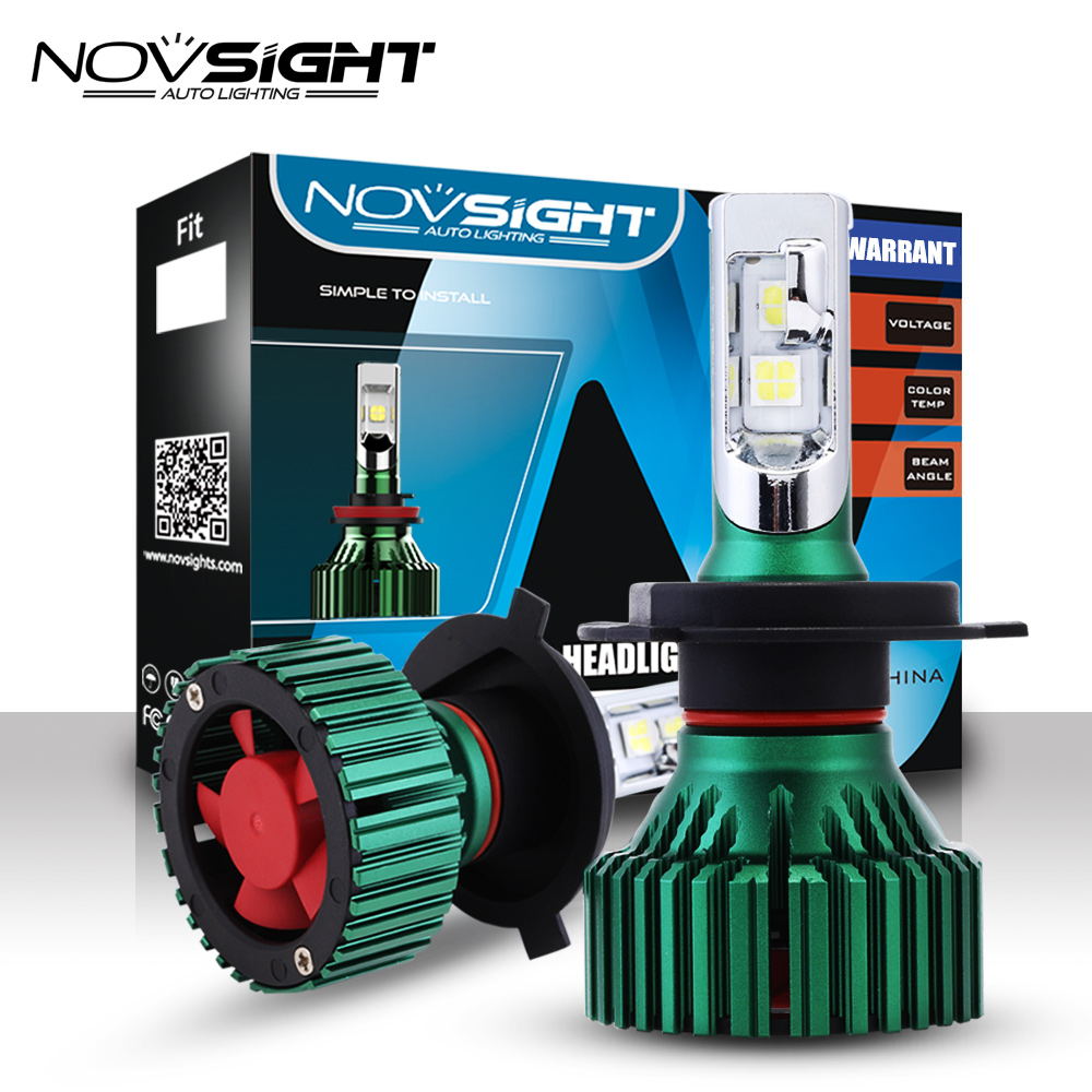 NOVSIGHT 60W 16000LM H4/HB2/9003 Car LED Headlights Driving Fog Light Bulbs Dual Beam Play And Plug Lamps 6500K D45