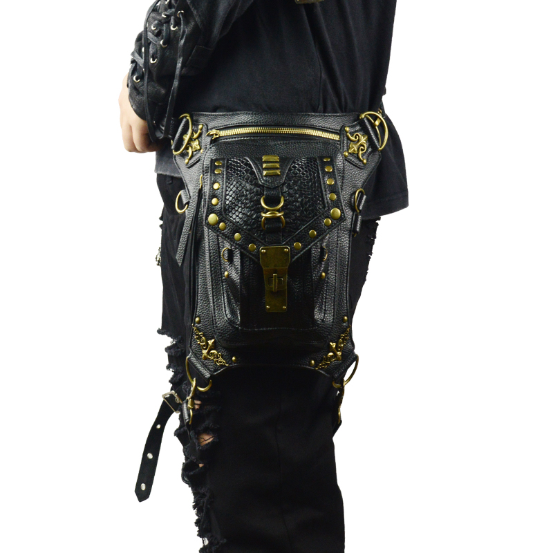 Punk Waist Bags Mens Travel Leg Bag Vintage Rock Rivet Fanny Pack Crossbody Messenger Gothic Shoulder Bag Unisex Retro Style Bag все цены