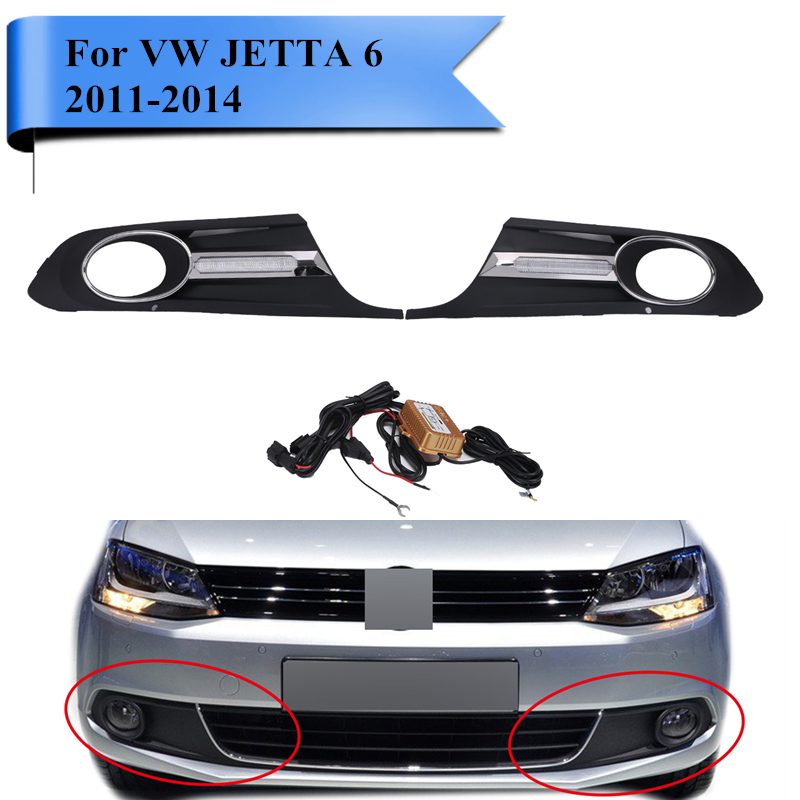 ABS Car Front Daytime Running Light Fog Light Cover Lamp Masks Wire Harness Set For VW JETTA 6 2011-2014 Standard Bumper #PDK580 2011 2013 vw golf6 daytime light free ship led vw golf6 fog light 2ps set vw golf 6