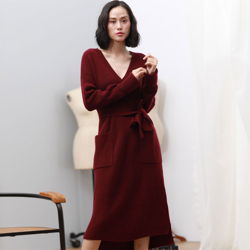 2018 New 100% Pure Cashmere Dress Autumn Winter Knitting V-neck Long Sleeves Women Thick Ladies Sexy Long Sweater Dress