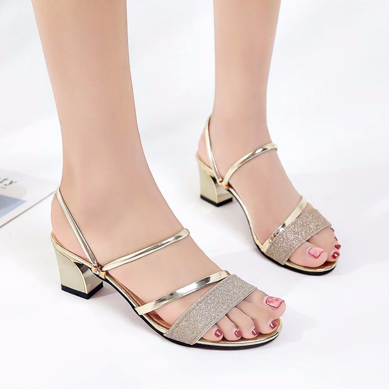 Summer Women Slippers Shoes 2019 Fashion Crystal Slides Square Heel Casual