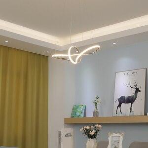 Image 4 - Gold Chrome Plated Modern Led Chandelier Hanging For Dining Room Kitchen Room Living Room Home Deco Chandelier Fixture