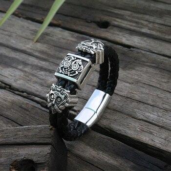Viking slavic zurriago pulsera hombres negro trenzado cuero brazalete Acero inoxidable magnético cierre 100% brazaletes de cuero genuino
