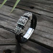 Viking eslavo pulseira de couro masculino preto trançado manguito aço inoxidável fecho magnético 100% pulseiras de couro genuíno