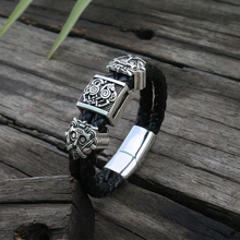 viking slavic Cowhide bracelet men Black Braided Leather Cuff Stainless Steel Magnetic Clasp 100% Genuine Leather Bangles