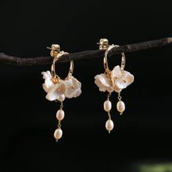 Amxiu ручной работы природные формы жемчуг серьги 925 пробы Серебряные ювелирные изделия для Для женщин девочек подарки цветок