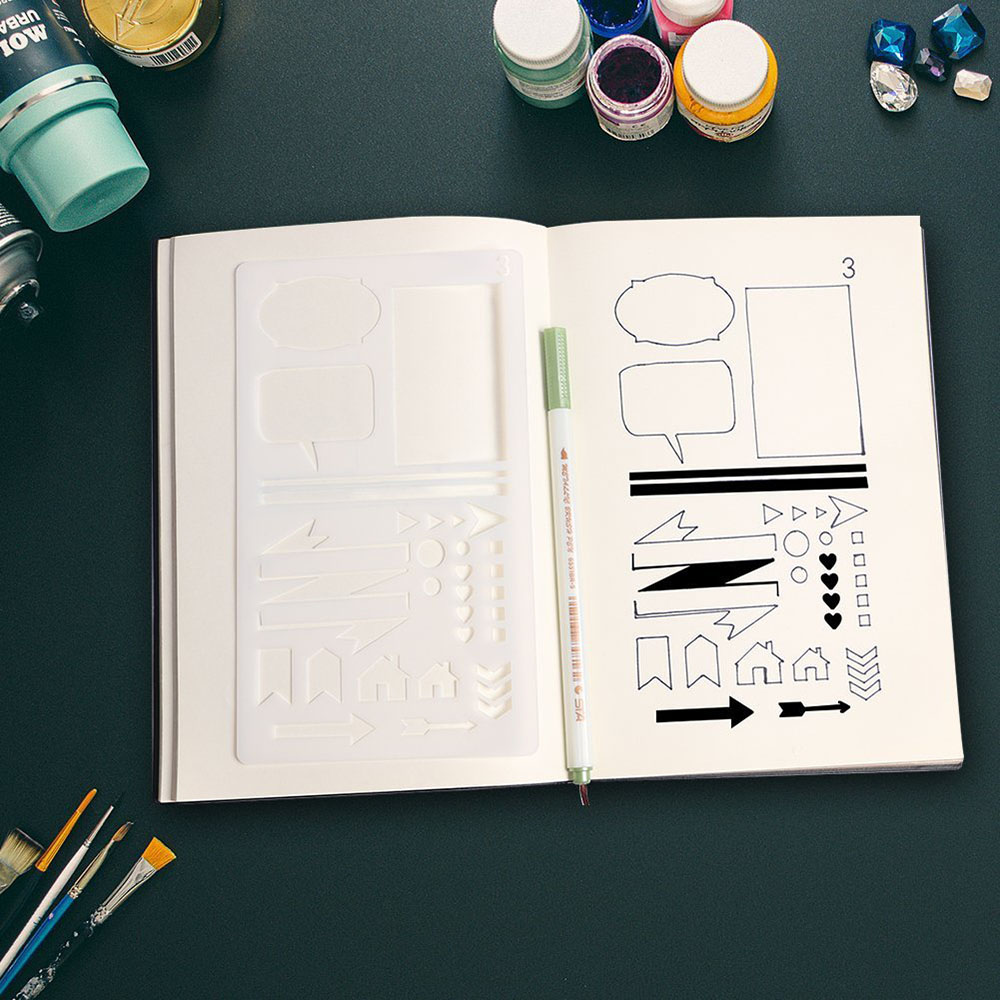 12pcs/set Creative Bullet Journal Stencil Plastic Planner Stencils Journal/notebook/diary/scrapbook Diy Drawing Template Rule #3