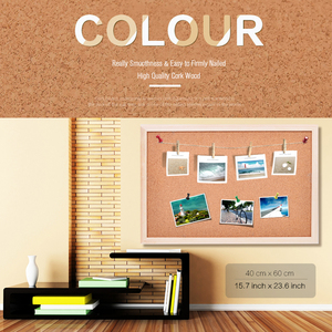 Image 2 - 45*60cm Double Sides Cork Board Wooden Frame Push Pin Bulletin Board 11 Colors Office Supplier Home Decorative Free Accessories