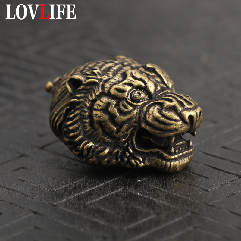 Copper Tiger Head Keychains Pendant Vintage Brass Metal Chinese Zodiac Animal Keychain Charm Car Key Rings Holder Handmade Gifts