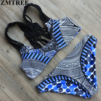 ZMTREE 2017 Hot Swimwear Women Handmade Crochet Bikini Set Sexy Bandage Beach Bathing Suit Push Up