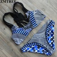 ZMTREE 2017 Hot Swimwear Women Handmade Crochet Bikini Set Sexy Bandage Beach Bathing Suit Push Up