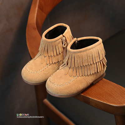 Winter Schuhe Kinder Cute Girls Boots Fringe 2017 Boots Children Faux Leather Mother & Kids