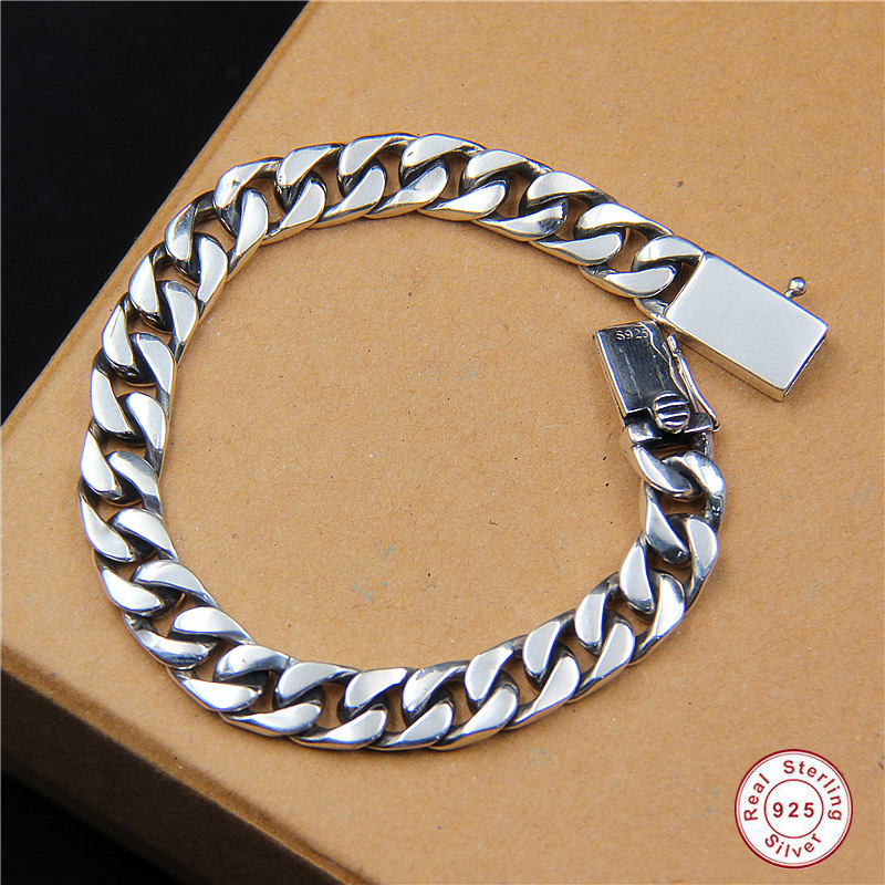 925 Sterling silver bracelet men Long Men's Sterling Silver Bracelet 925 Hip Hop Rap Cuban Curb Charm Bracelet Father's day 2018