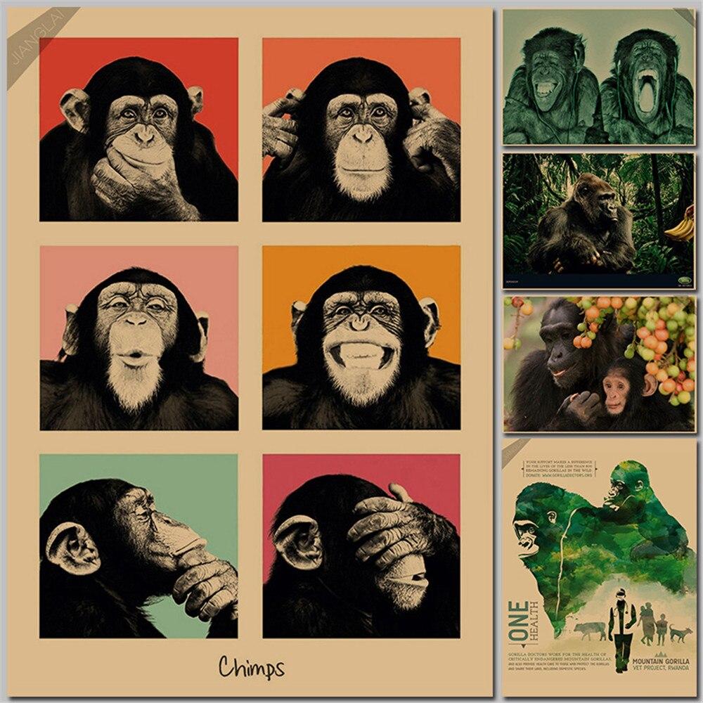 vintage poster gorilla bancone bar ornamento cucina retro kraft paper poster movie poster adesivi murali