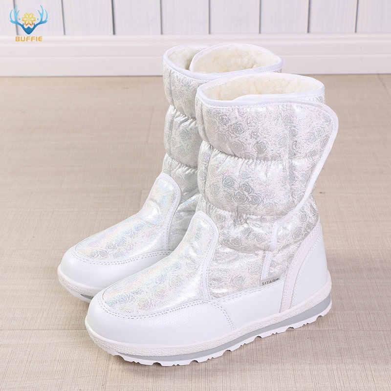 2019 Sıcak satış Kış Kadın kar botları Bayan sıcak sahte kürk ayakkabı kadın beyaz Buffie marka moda boots skid taban