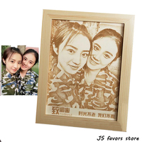 Free shipping 1pcs custom wood canvaing photo with frame engagement birthday wedding Christmas best gift for dating girlfriend