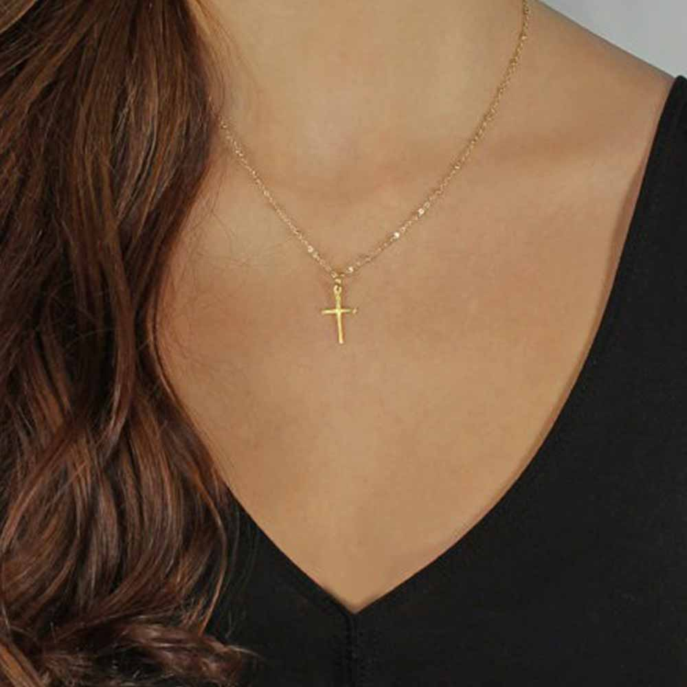 FAMSHIN 2017 Summer Gold Chain Cross Necklace Small Gold