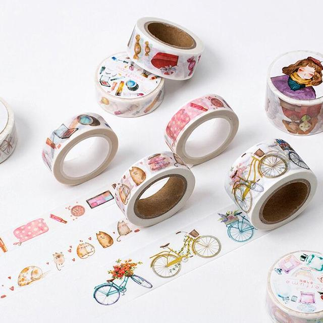 Los Accesorios de la Muchacha Hermosa Decorativo Cinta Del Washi DIY Scrapbooking Cinta Adhesiva School Office Supply