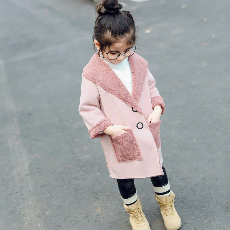 DFXD Children Girls Wool Coats 2017 Winter Long Sleeve Thick Kids Overcoat High Quality Soild Baby Long Trench Outwear 2-8Years