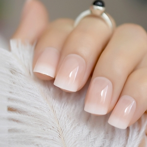 Beige Gradient French Manicure Tips Gorgeous and Classy Natural Fake Nails Faded Nails Designed(China)